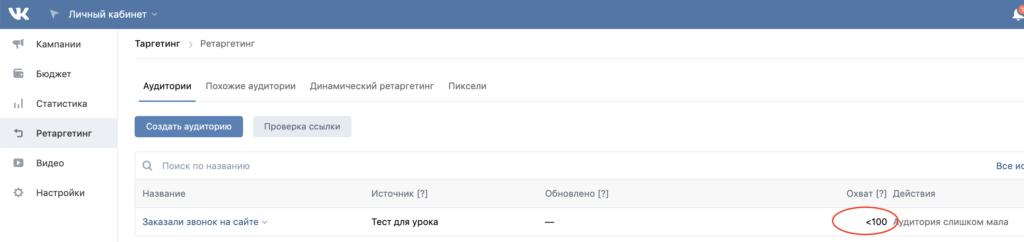 Список аудиторий ретаргетинга Вконтакте
